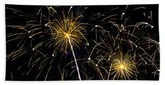 Moon Over Golden Starburst- July Fourth - Fireworks Bath Towel