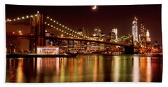 Moon Over The Brooklyn Bridge Hand Towel