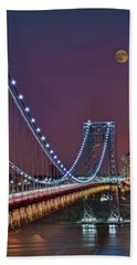 Moon Rise Over The George Washington Bridge Hand Towel by Susan Candelario
