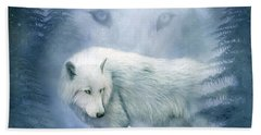 Moon Spirit 2 - White Wolf - Blue Bath Towel