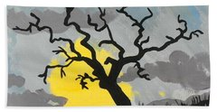 Hand Towel featuring the painting Moon Tree by Marisela Mungia