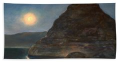 Bath Towel featuring the painting Moonlight On Pyramid Lake by Donna Tucker