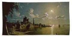 Moonlight Scene, Southampton, 1820 Hand Towel
