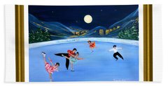 Moonlight Skating. Inspirations Collection. Card Hand Towel