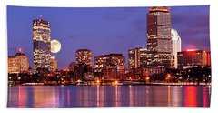 Bath Towel featuring the photograph Moonlit Boston On The Charles by Mitchell R Grosky