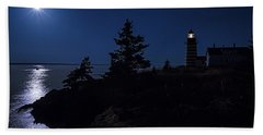 Bath Towel featuring the photograph Moonlit Panorama West Quoddy Head Lighthouse by Marty Saccone