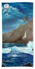 Hand Towel featuring the painting Moonlit Wave by Jenny Lee