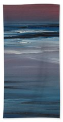 Bath Towel featuring the painting Moonlit Waves At Dusk by Jani Freimann