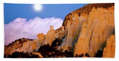 Moonrise Over The Kaiparowits Plateau Utah Hand Towel
