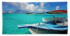 Moored Dhoni At Sun Island. Maldives Hand Towel
