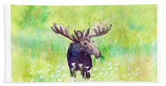 Bath Towel featuring the painting Moose In Flowers by C Sitton