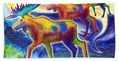 Bath Towel featuring the mixed media Moose Mystique by Teresa Ascone
