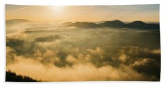 Morning Fog In The Saxon Switzerland Bath Towel