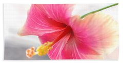 Morning Hibiscus In Gentle Light - Square Macro Bath Towel by Connie Fox
