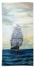 Hand Towel featuring the painting Morning Light On The Atlantic by Lee Piper