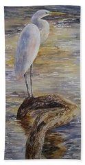 Morning Perch-egret Bath Towel