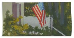 Morning Sun On Old Glory - Art By Bill Tomsa Hand Towel