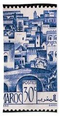 Morocco Vintage Postage Stamp Bath Towel