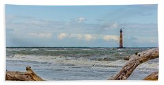 Morris Island Light With Driftwood Hand Towel