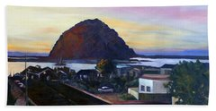 Morro Rock At Night Bath Towel