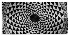Mosaic Circle Symmetric Black And White Hand Towel