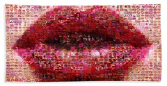 Mosaic Lips Hand Towel