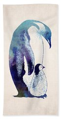 Mother And Baby Penguin Hand Towel