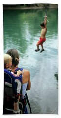 Mother And Son Watch Boy Jump In Water Bath Towel