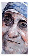 Mother Theresa Watercolor Bath Towel by Laur Iduc