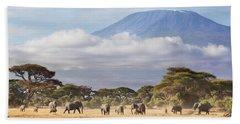 Bath Towel featuring the photograph Mount Kilimanjaro Amboseli  by Richard Garvey-Williams