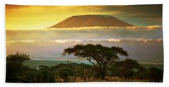 Mount Kilimanjaro Savanna In Amboseli Kenya Bath Towel