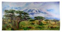 Mount Kilimanjaro Tanzania Hand Towel by Sher Nasser