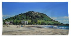 Mount Maunganui Beach 151209 Bath Towel by Sylvia Kula