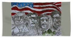 Hand Towel featuring the painting Mount Rushmore by Kathy Marrs Chandler