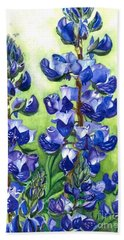 Hand Towel featuring the painting Mountain Blues Lupine Study by Barbara Jewell