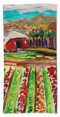 Hand Towel featuring the painting Mountain Farm by Mary Carol Williams