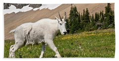 Mountain Goat Walking Beneath A Talus Slope Hand Towel