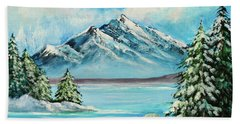 Hand Towel featuring the painting Mountain Lake In Winter Original Painting Forsale by Bob and Nadine Johnston