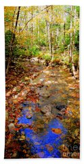 Mountain Stream Covered With Fall Leaves Bath Towel