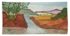 Hand Towel featuring the painting Mountain Stream by Tracey Williams