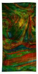 Bath Towel featuring the mixed media Mountains In The Rain by Ally  White