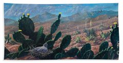 Bath Towel featuring the painting Mourning Dove Desert Sands by Rob Corsetti
