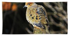 Mourning Dove On Post Bath Towel