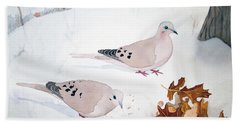Mourning Doves Hand Towel by Laurel Best
