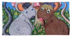Hand Towel featuring the painting Mouse World by Megan Walsh
