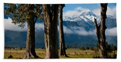 Mt Cook Through Trees Bath Towel