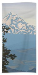 Hand Towel featuring the painting Mt Hood by Karen Ilari