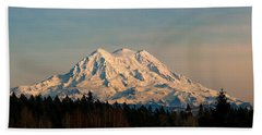 Mt Rainier Winter Panorama Hand Towel
