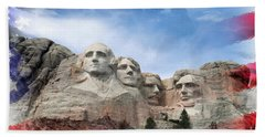 Mt Rushmore Flag Frame Hand Towel by David Lawson