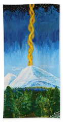 Hand Towel featuring the painting Mt. Shasta by Cassie Sears
